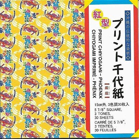 Papel P/ Origami 15x15cm Estampado Face única Print Chiyogami Phoenix PCBG200 (30fls)