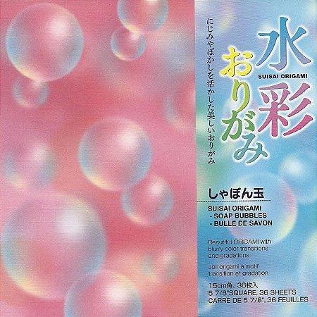 Papel P/ Origami 15x15cm Estampado Face única Suisai Origami - Soap Bubbles SMB200 (36fls)