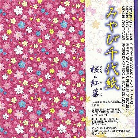 Papel de Origami 15x15cm Estampado Face única Cherry Blossoms & Maple Leaves CMC200 (40fls)