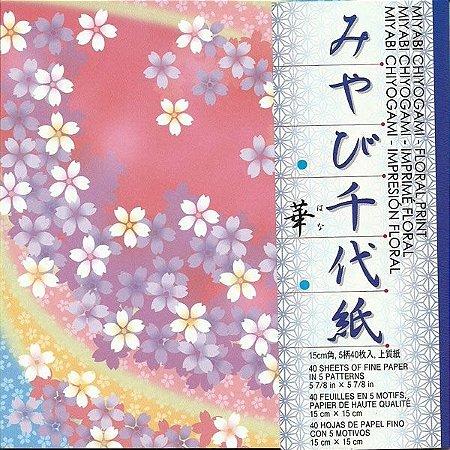 Papel de Origami 15x15cm Estampado Face única Miyabi Chiyogami Floral Print FLC200 (40fls)