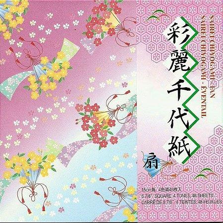 Papel P/ Origami 15x15cm Estampado Face única Sairei Chiyogami-fan SRF200 (48fls)