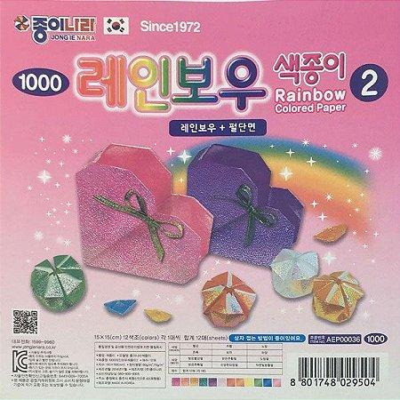 Papel P/ Origami 15x15cm Perolizada/iridescente Face única Rainbow 2 (12fls) AEP00036