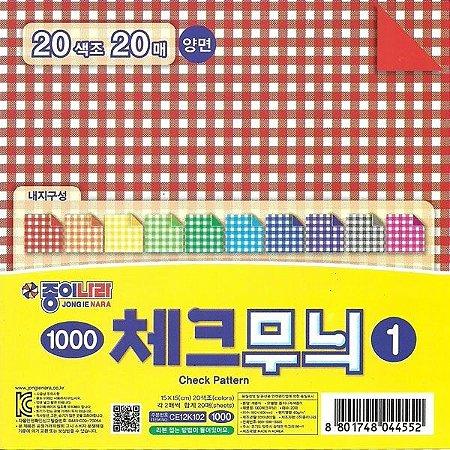 Papel P/ Origami 15x15cm Estampado Dupla Face CE12K102 Check Pattern Colored Paper (20fls)