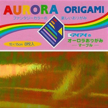 Papel p/ Origami 15x15 Aurora (8 fls) Ehimeshiko
