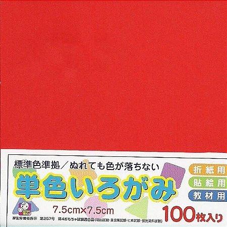 Papel P/ Origami 7,5x7,5cm Liso Face única No. 2 Vermelho - Ehime Shiko (100fls)