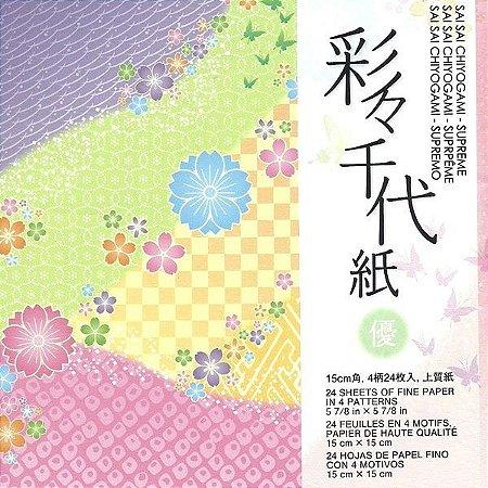 papel P/ Origami 15x15cm Estampado Face única Sai Sai Chiyogami - Supreme SPR200 (24fls)