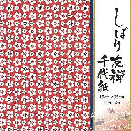 Papel P/ Origami 15x15cm Estampado Face única Shibori Yuuzen ESY-2515 (32fls)