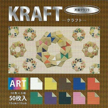 Papel P/ Origami 15x15cm Liso Dupla Face Kraft 10 Cores CRA-2515 (50fls)