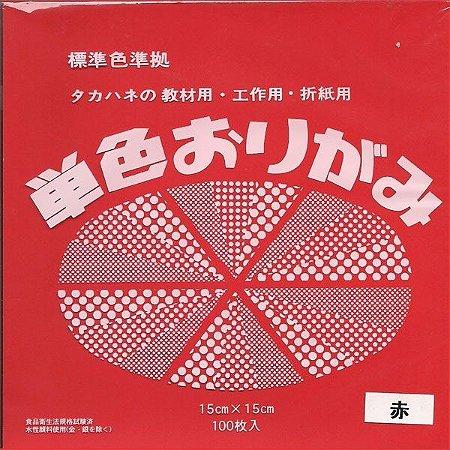 Papel P/ Origami 15x15cm Liso Face Única Vermelho No. 1 (100fls)