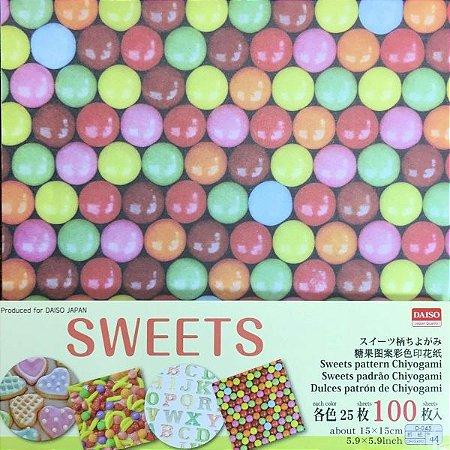 Papel P/ Origami 15x15cm Estampada Face Única Sweets Pattern D-045 No. 44 (100fls)