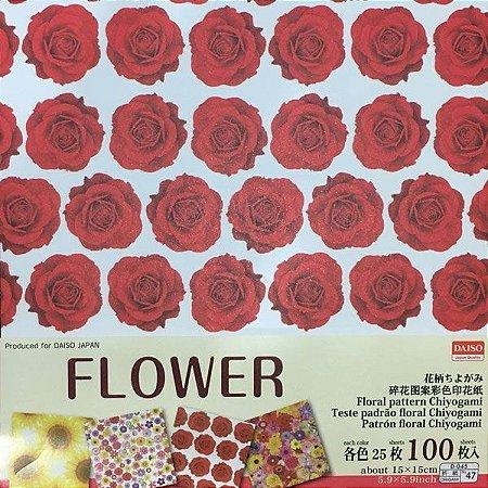 Papel P/ Origami 15x15cm Face Única Estampada Floral Pattern Chiyogami No. 47 (100fls)
