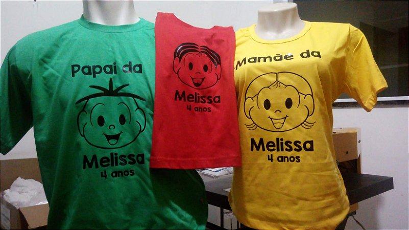 Camiseta adulto colorida em Algodão, estampa por filme de recorte