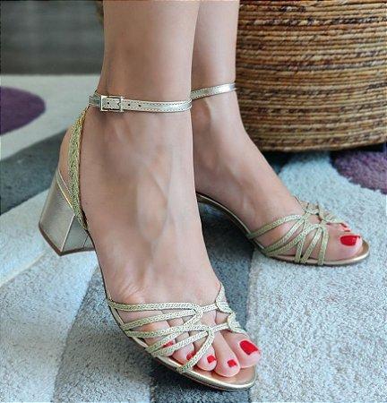 Sandália Schutz Dourada Trançada