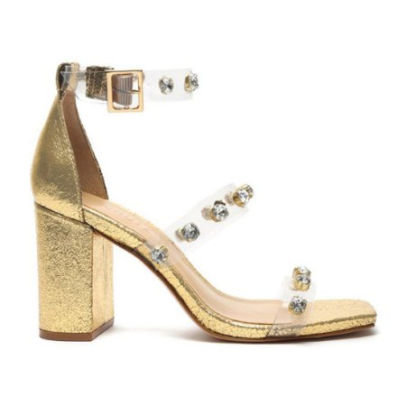 Sandalia Schutz Dourada Salto Grosso Vinil Brilhos - S2119000070002