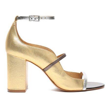 Sandalia Schutz Dourada Salto Bloco - S2118900170002