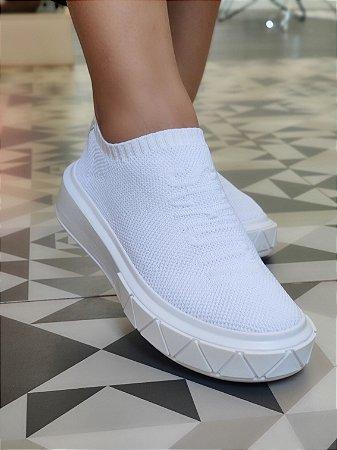Tenis Schutz Meia Branco Solado Branco