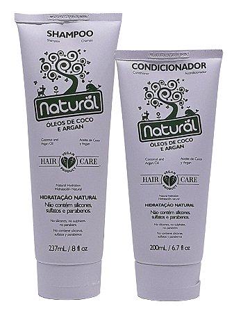 Kit Shampoo e Condicionador Líquidos com Óleo de Coco e Argan - Natural