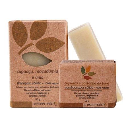 Kit Shampoo e Condicionador em Barra - Cabelos Secos e Cacheados - Ares de Mato