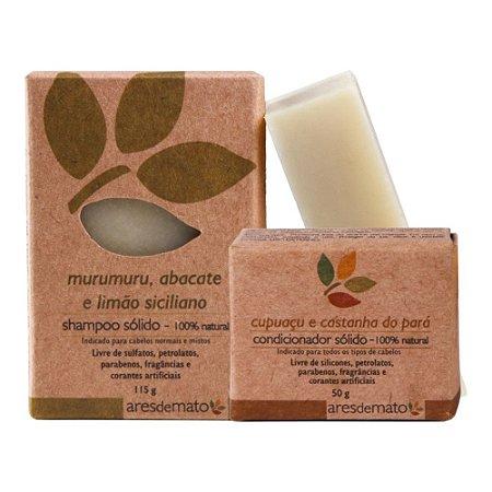 Kit Shampoo e Condicionador em Barra - Cabelos Normais e Mistos - Ares de Mato