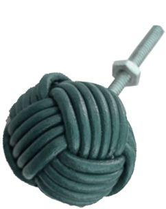 Puxador em couro para armários e gavetas  verde escuro