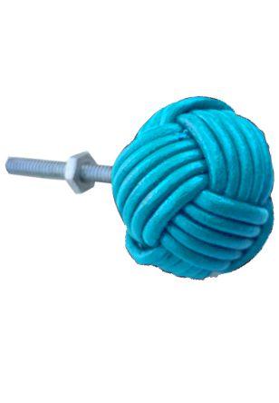 Puxador em couro azul metálico