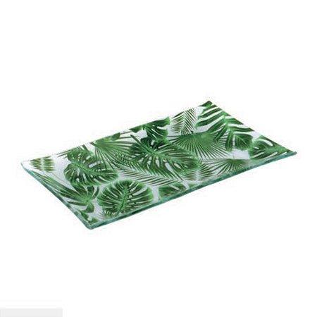 Ornamento Vidro Retangular Pequeno Folhagem Decorglass