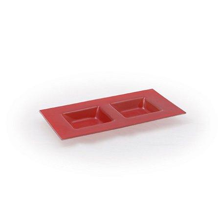 Centro de Mesa Retangular 2 Divisórias Vermelho Decorglass