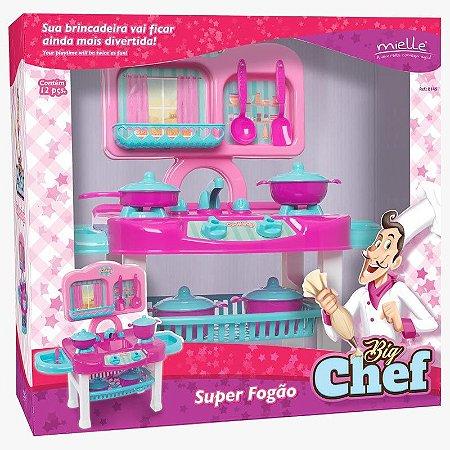 Brinquedo Big Chefe Fogão com 12 Peças Mielle Brinquedos