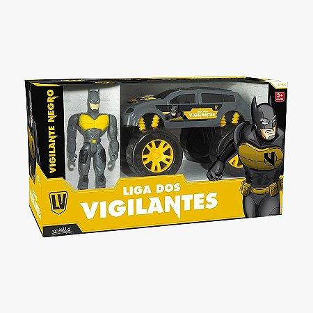 Super Vigilante Negro com 3 Peças Mielle Brinquedos