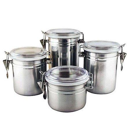 Conjunto de Potes Herméticos 4 Peças Inox Clink