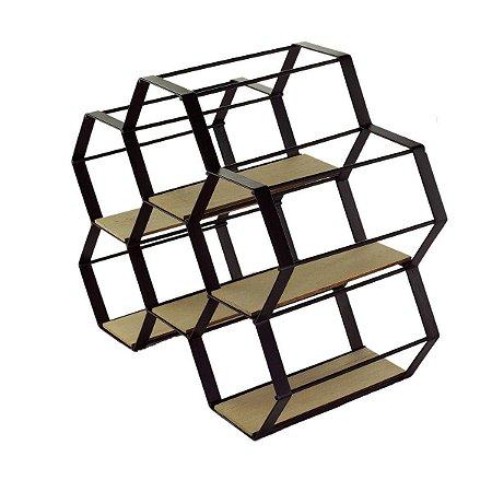 Adega de Metal e Madeira Hexagonal Preto House