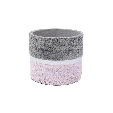 Vaso Concreto Dual Line Colors Cinza/Rosa 12x12x10 Urban