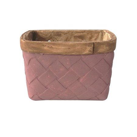 Vaso Concreto Square Fake Basket Roxo 16x12x11cm Urban