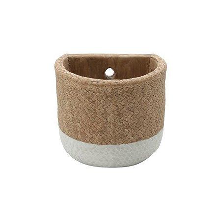 Vaso Concreto Natural Fibre Rope Hole Bege e Branco Urban