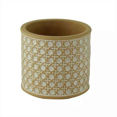 Cachepot Redondo de Concreto String Knot Branco 11x11x10cm Urban