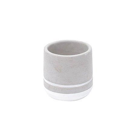 Cachepot Concreto Color Stripe Branco 8x8x8cm Urban