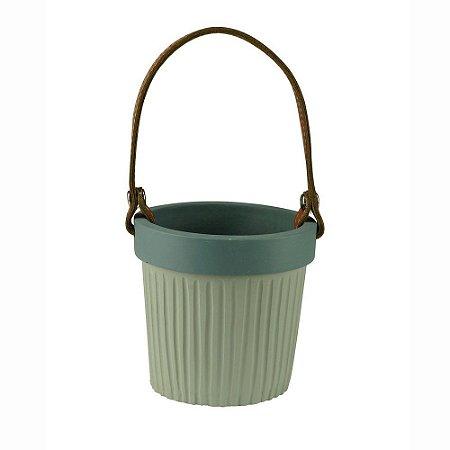 Vaso de Concreto Leather Hold Mini Rosa 9x8x8cm Urban