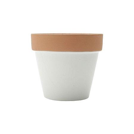 Vaso de Cerâmica Terracota Colar Branco Peq 8x8x7cm Urban