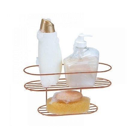 Suporte Com Saboneteira Para Shampoo Rose Gold Arthi