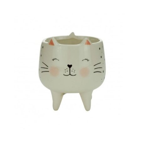 Cachepot Cerâmica Charmy Feet Cat Branco 12x12x12cm Urban