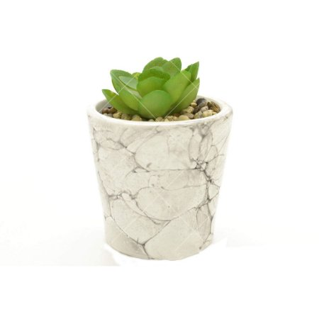 Cachepot Cerâmica Marble Branco com Planta 8x8x10cm Urban