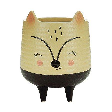 Cachepot Cerâmica Cream Rattan Fox Bege 12x12x15 Urban