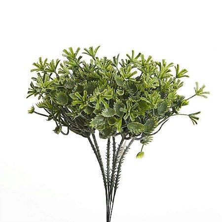 Galho Folhas Verdes Permanentes com Talco 27 cm Bela Flor