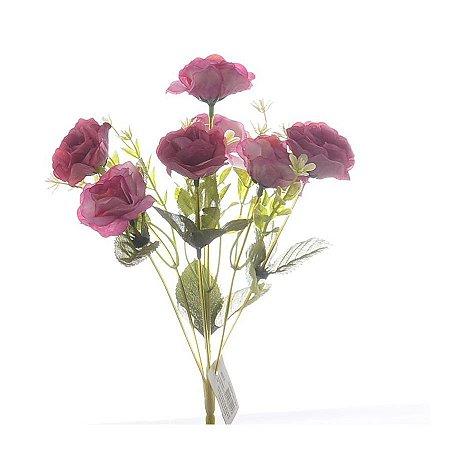 Buquezinho de Flores Rosas Permanentes 30 cm Bela Flor