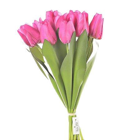 Buquê Tulipa Pink Permanente 43 cm Bela Flor