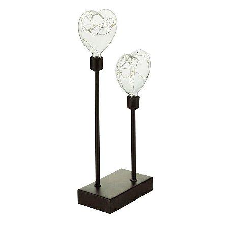 Luminária Led Metal Double Hearts Preto 12x32x7 cm Urban