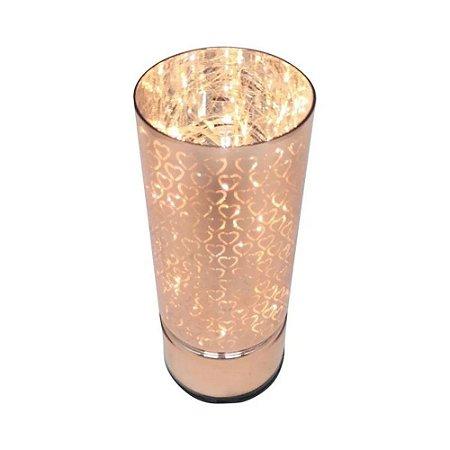 Luminária Led Vidro Hearts Rose Gold 7x7x15 cm Urban