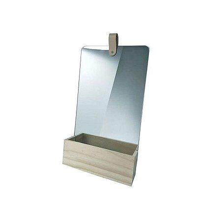 Espelho Retangular Madeira New Zeland Pine 23x38x6 cm Urban