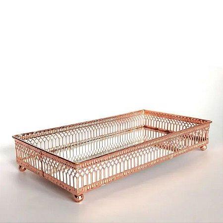 Bandeja Retangular Long Classic Rose Gold 12x30x4 cm Urban