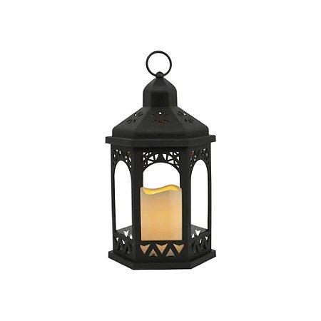 Lanterna com Led Coreto Preto 18x32x18 cm Studio Collecttion